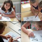 Vier Porträts rätselnder und malender Kinder