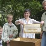 Andrea Grünzig hält eine Honigwabe hoch
