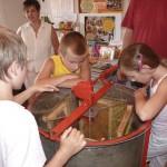 Kinder blicken durch die Acrylglasdeckel ins innere der Honigschleuder