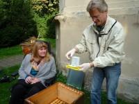 Sabine Saam beobachtet die Ameisensäurebehandlung