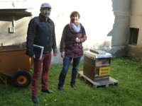 """Michael Gerencser und Ilona Munique an der Bienenbeute """"Villa Dessauer"""""""