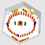 3D-Darstellung mit Stehkreis in Bienen-InfoWabe