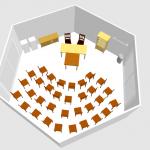 3D-Darstellung mit Vortragsbestuhlung in Bienen-InfoWabe