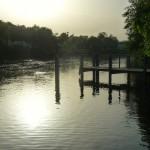 Sonnenuntergang an der Regnitz, Erba-Insel