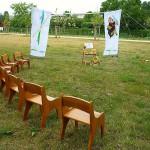 Mal ausprobiert – halber Sitzkreis in der künftigen Bienen-InfoWabe