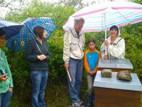 Honigernte unter Schirm in den Buger Wiesen (Foto: Conny Kopp)
