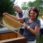 Jutta hält eine selbst gezogene Honigwabe in die Höhe