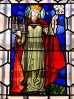 Kaiserin Kunigunde mit Lilien, Glasbild Historisches Museum Bamberg