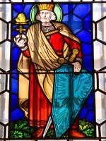 Kaiser Heinrich II mit Falke, Glasbild Historisches Museum Bamberg