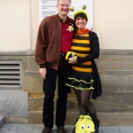 Reinhold Burger und Ilona Munique vor dem Rathaus Bamberg