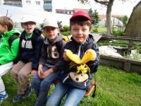 Schuljunge mit SaBiene, unserem Plüschmaskottchen