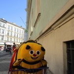 Rücktransport des entliehenen Medienrucksacks der Bamberger Schulbiene