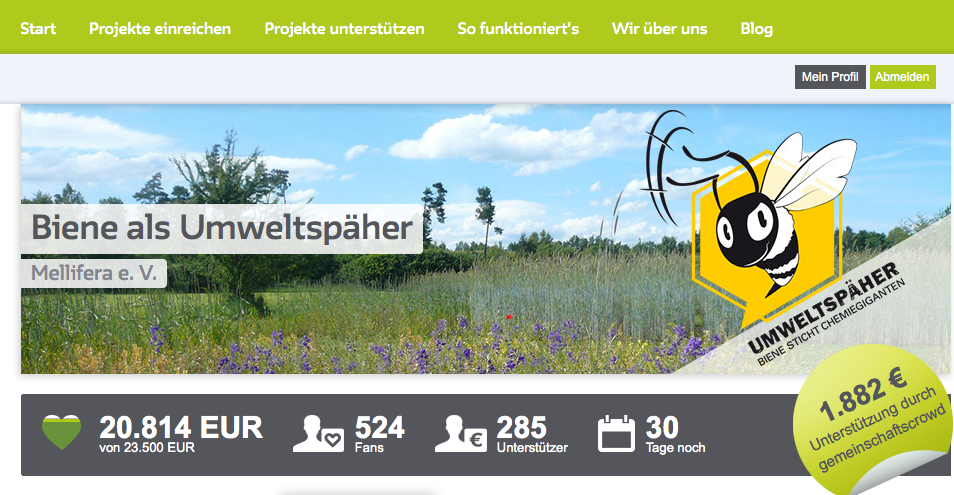 """Screenshot zur Crowdfunding-Aktion """"Biene als Umweltspäher"""""""