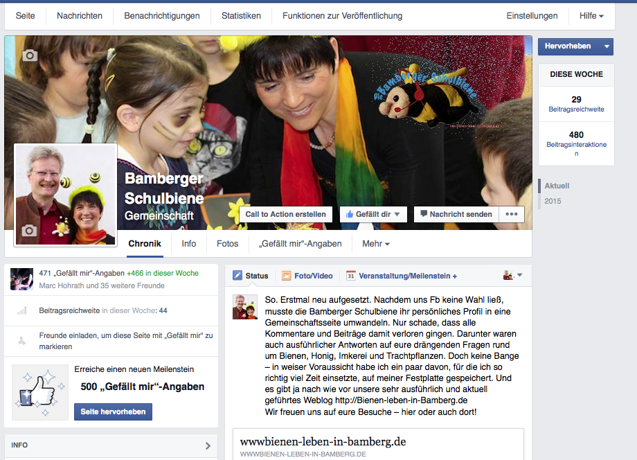 Screenshot Facebook Gemeinschaftsseite