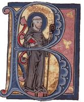 """Bernhard von Clairveaux in Initiale """"B"""""""