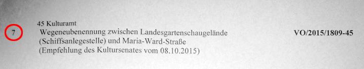 TOP 7 der Stadtrats-Vollsitzung in Bamberg: Wegeneubenennung