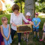 Am Lehrbienenstand der Bamberger Schulbiene mit der Gundelsheimer Schulklasse 3b