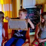 Eine schwere Honigwabe halten. Schulbienenunterricht für Schüler der Hainschule