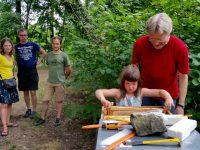 Junge Honigerntehelferin zieht Honigwabe