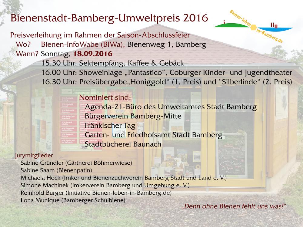 Bienenstadt-Bamberg-Umweltpreis 2016, Einladung