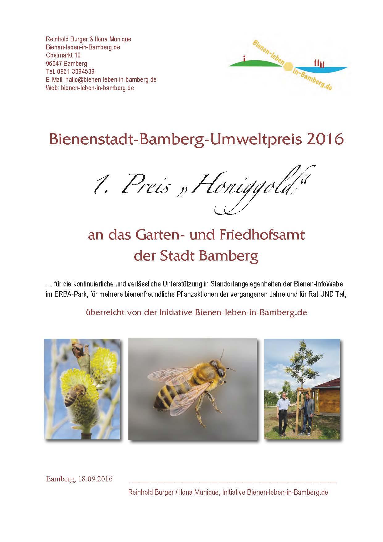 1. Preis Bienenstadt-Bamberg-Umweltpreis 2016 von Bienen-leben-in-Bamberg.de