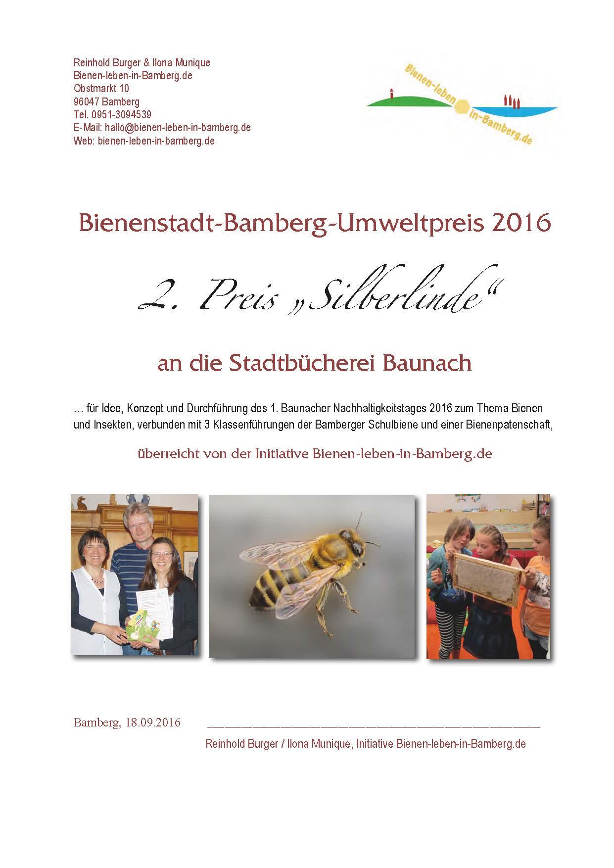 2. Preis Bienenstadt-Bamberg-Umweltpreis 2016 von Bienen-leben-in-Bamberg.de