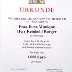 Urkunde zur Preisverleihung des StMELF an Bienen-leben-in-Bamberg.de