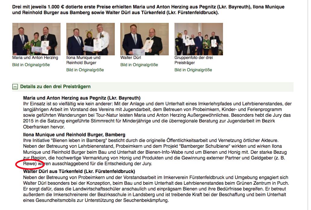 """Auszug aus Webseiten des StMELF zur Preisverleihung """"Imkernachwuchsförderung"""" u. a. an Bienen-leben-in-Bamberg.de"""