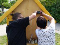 Vorbereiten des Wildbienenhotels mit Schülerhilfe