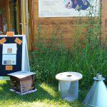 Vorzeigeobjekte von Heinrich Zwosta im Außenbereich der Bienen-InfoWabe