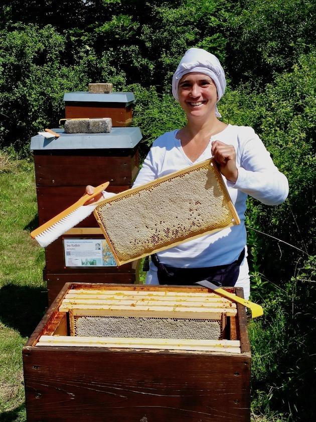 Ilona zieht Honigwabe aus Volk von Bienenpatin Elisabeth Burger