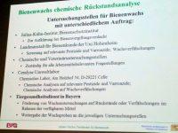 Folie im Vortrag von Johann Fischer zu Untersuchungsstellen für Wachsrückstände