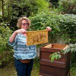 Elke entnimmt eine Honigwabe aus der Beute