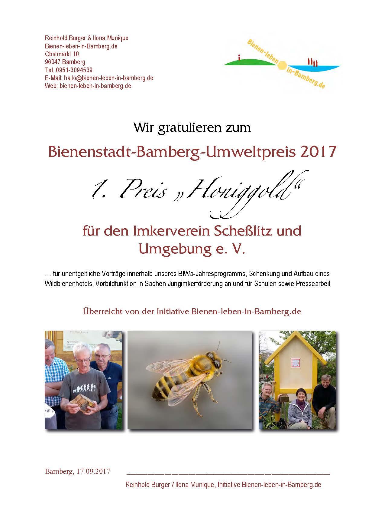 """Urkunde zum 1. Preis """"Honiggold"""" des Bienenstadt-Bamberg-Umweltpreises 2017"""