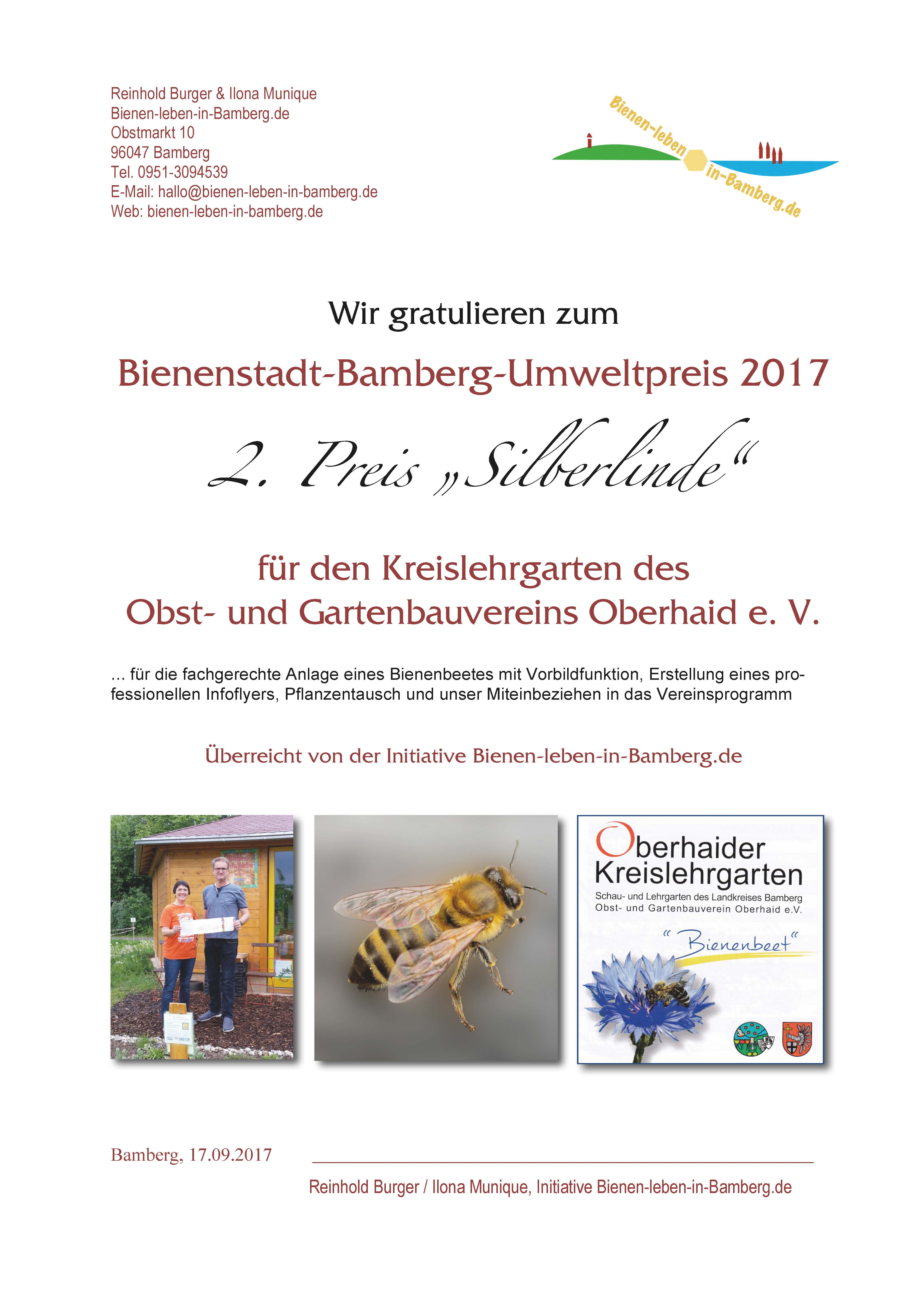 """Urkunde zum 2. Preis """"Silberlinde"""" des Bienenstadt-Bamberg-Umweltpreises 2017"""