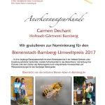 Anerkennungsurkunde für Carmen Dechant, Bienenstadt-Bamberg-Umweltpreis 2017