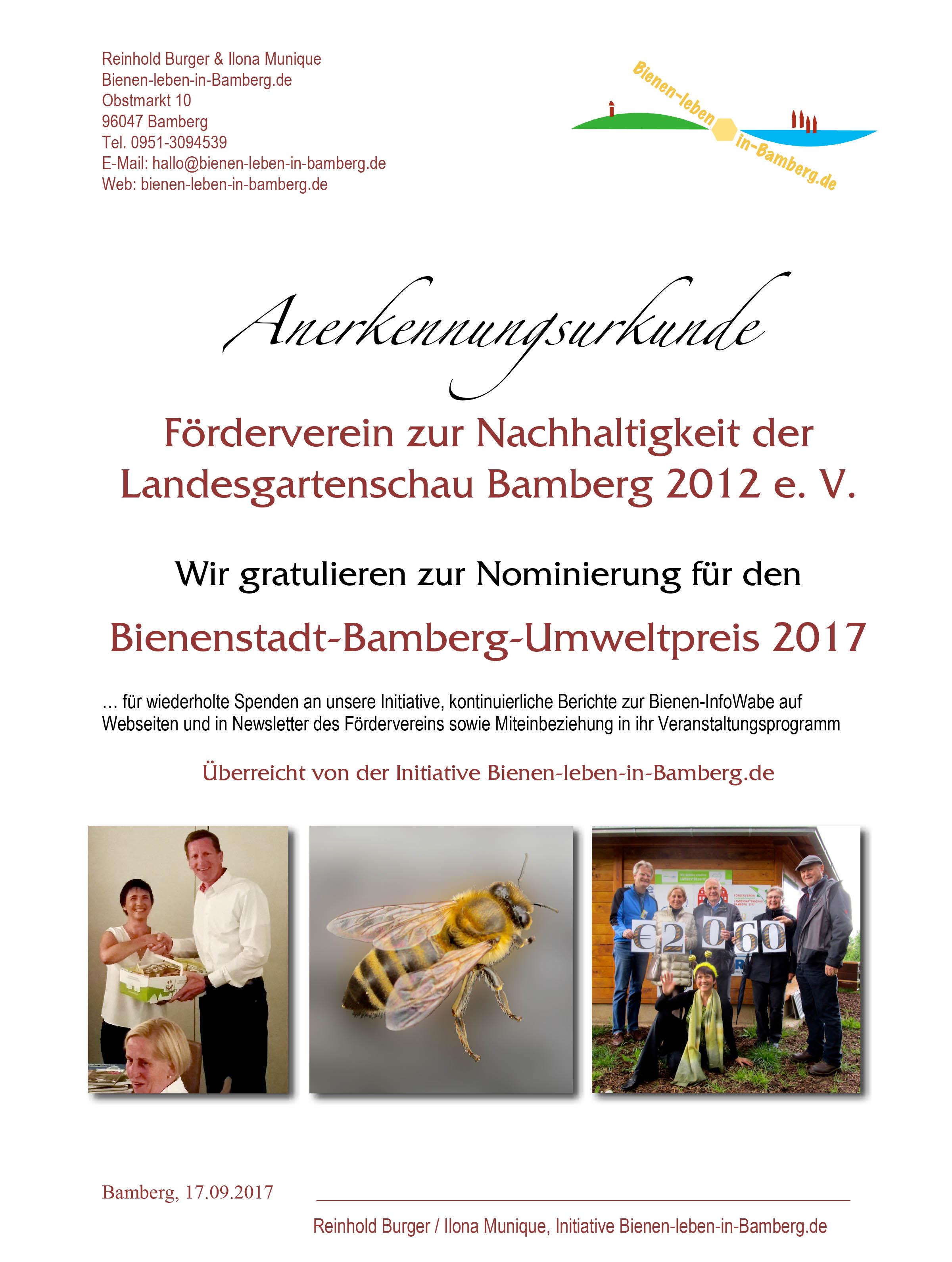 Anerkennungsurkunde für Förderverein zur Nachhaltigkeit der Landesgartenschau Bamberg 2012 e. V., Bienenstadt-Bamberg-Umweltpreis 2017