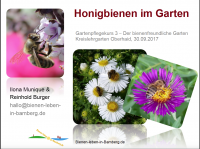 Titelblatt Vortrag Reinhold Burger: Honigbienen im Garten 2017