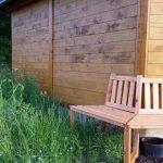 Spontanbewuchs und Sitzbank im Bamberger Bienengarten an der Bienen-InfoWabe