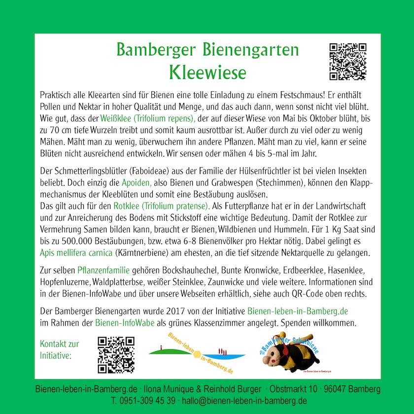 """Tafel """"Kleewiese"""" des Bamberger Bienengartens"""