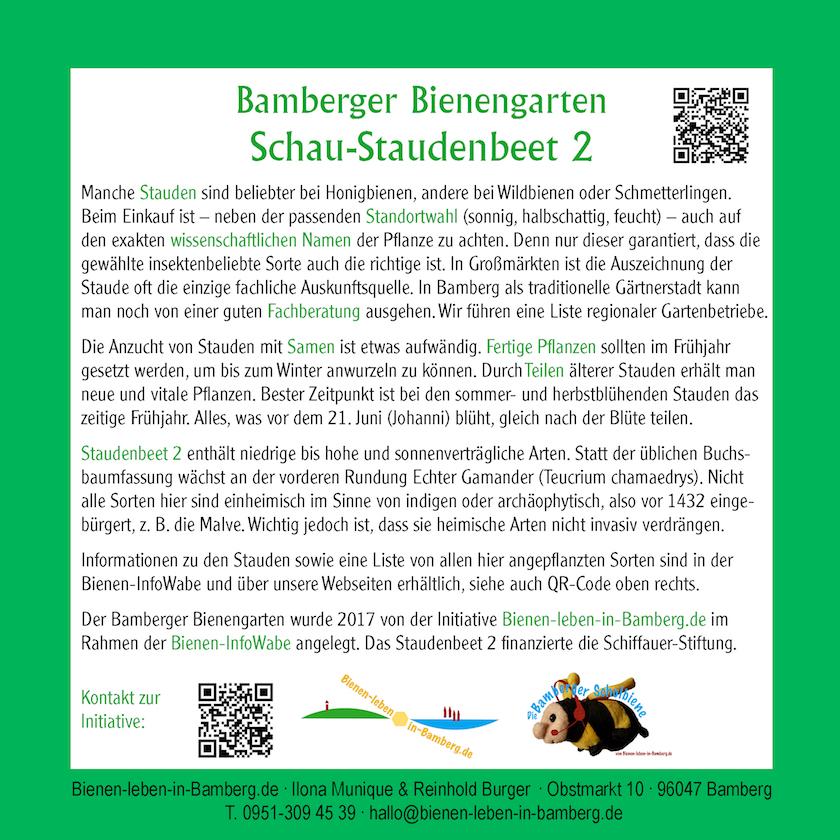 Tafel zum Schau-Staudenbeet 2 des Bamberger Bienengartens, Bienenweg 1