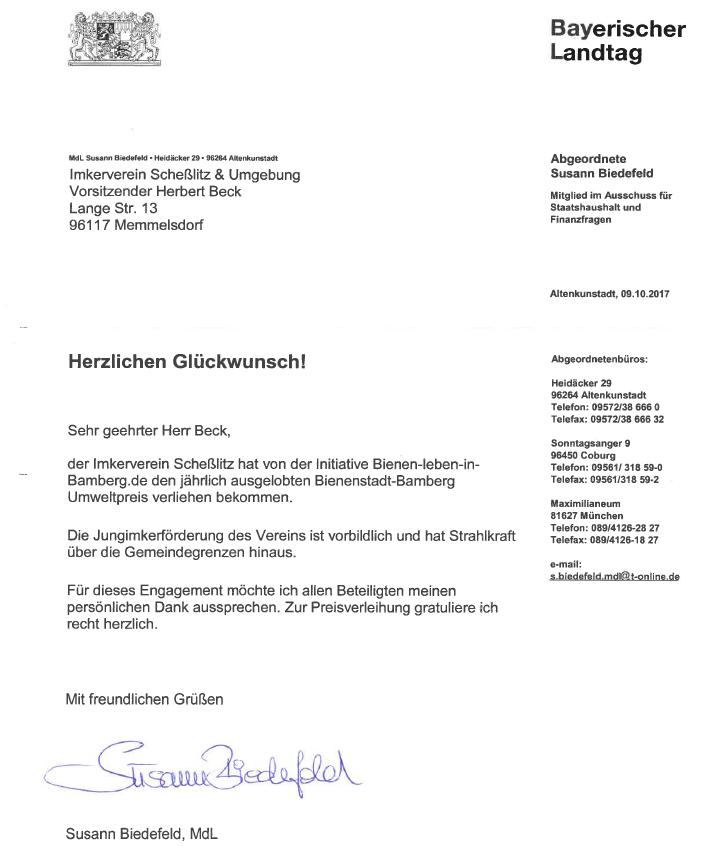 Bienenstadt-Bamberg-Umweltpreis (BBU) - Glückwunschschreiben von Susann Biedefeld, MdL