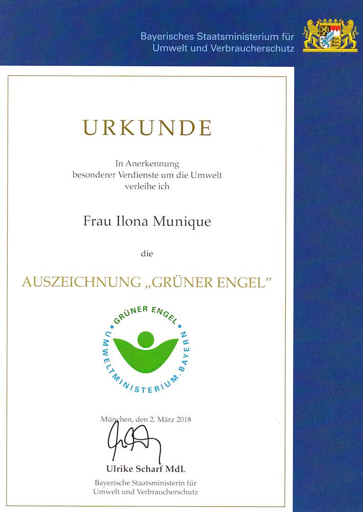 Urkunde Grüner Engel I. M.