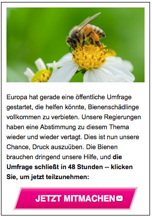 © Avaaz. Aufruf zur EU-Umfrage Bienen