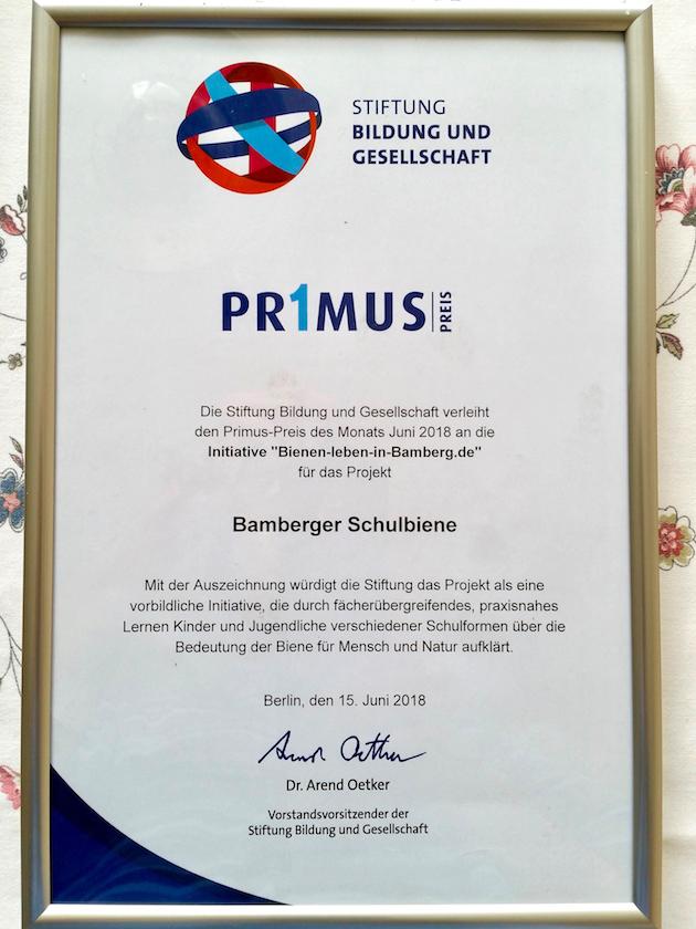 Primus-Preis der Stiftung Bildung und Gesellschaft Juni 2018 für die Bamberger Schulbiene