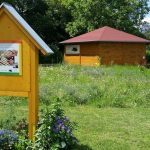 Blühwiese im Bamberger Bienengarten mit Wildbienenhotel und Bienen-InfoWabe