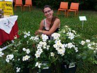 Jeannette Frank inmitten ihrer schönen Rosen