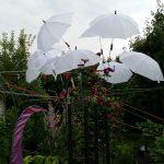 Weiße Schirme, später beleuchtet