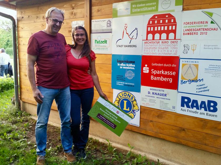 Sposoring Jeannette Frank (Galarosa) mit Partner Frank Gagel, an der Bienen-InfoWabe