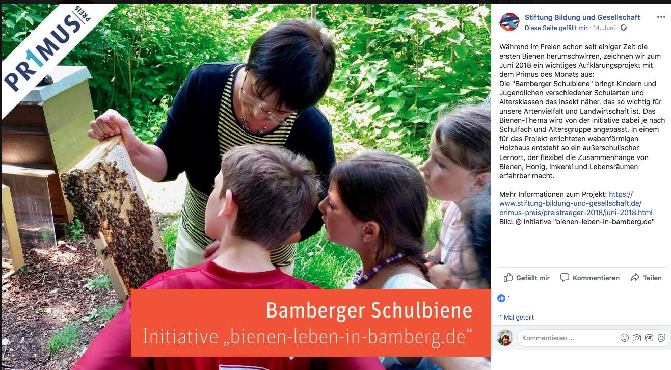 Facebook-Meldung Primus-Preis der Stiftung Bildung und Gesellschaft für Bamberger Schulbiene
